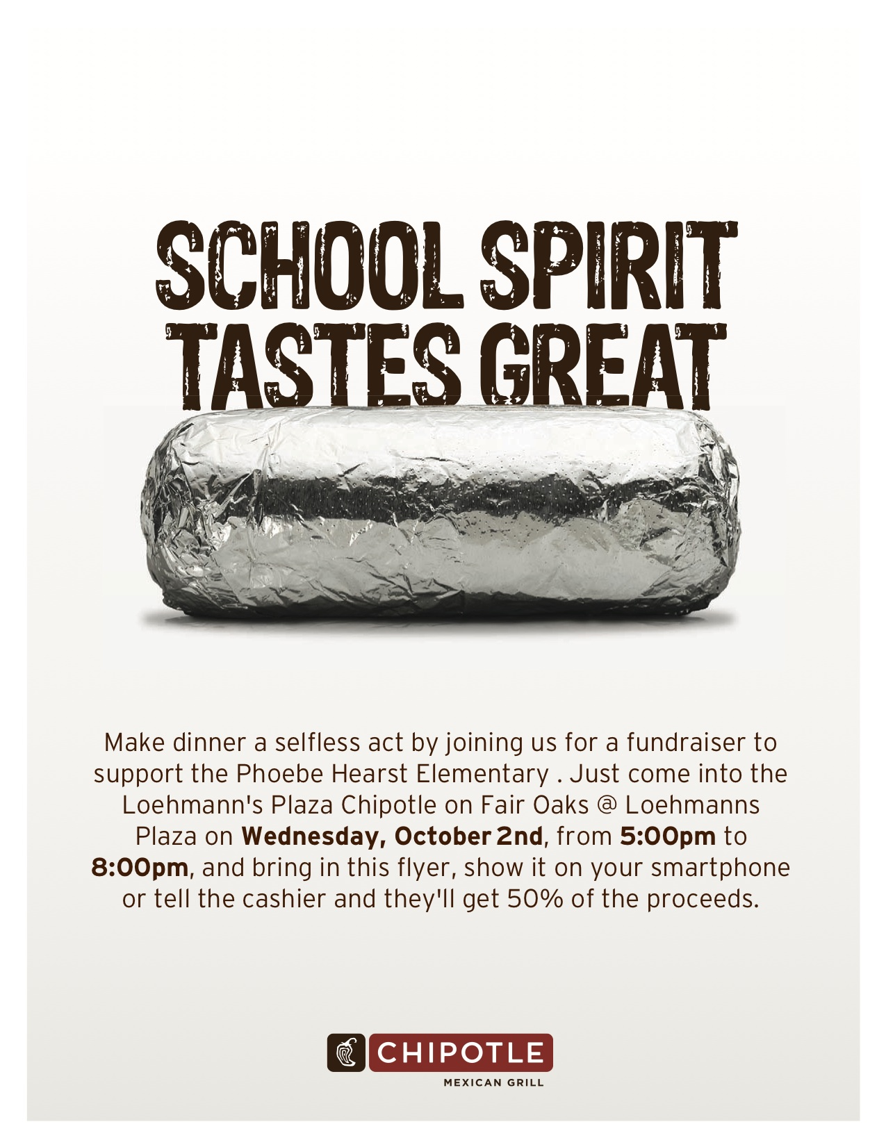 chipotle fundraiser loehmann s plaza phoebe hearst chipotle phoebe fundraiser flyer